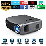 Full HD WiFi Bluetooth Projector 1080P Native Support 4K, 5500 Lumen LEDSmart Android Wireless Home Outdoor Business Projector 1920x1080 USB HDMI VGA AV Audio for Laptop PC TV DVD PS4 Smartphones Mac