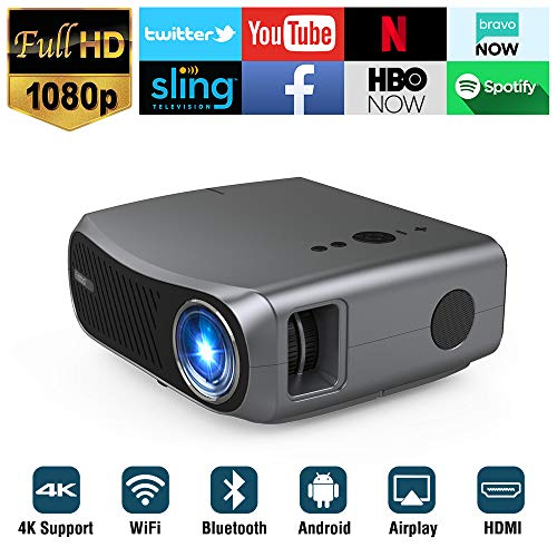 Full HD 1080P Wifi Bluetooth Projector Support 4K, 5500 Lumen Smart Wireless LCD Video Projectors 1920×1080 Native Android USB HDMI VGA AV Audio for Laptop PC Phones TV DVD PS4 PPT Home Outdoor Office