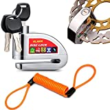 EasyULT Disc Brake Lock,Alarm Disc Lock,Motorcycle Bike Anti-theft&Waterproof Brake Disc Wheel Alarm Security Lock,110dB Alarm Sound and 6mm Pin with 1.3m Reminder Cable for Motorcycles