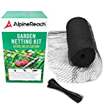 AlpineReach Garden Mesh Netting Kit 7.5 x 65 Feet - Stretch Durable Net with Zip Ties - Heavy Duty Black Cover Protects Plants Fruits Flowers Vegetables Trees – Stops Birds Deer Animals