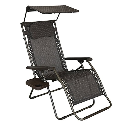 Abba Patio Oversized Recliner Zero Gravity Chair with Sunshade and Drink Tray