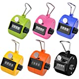 Ktrio Pack of 6 Color Hand Tally Counter 4 Digit Tally Counter Mechanical Palm Click Counter Count Clicker Assorted Color Hand Held Counter Clicker for Sport Stadium Coach Casino and Other Event