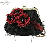 Mary Frances Date Night Black Red Floral Mini Evening Bag
