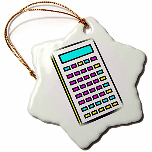 3Drose Orn 102370 1 Cmyk Calculator Math Geek Retro Graphic Cartoon Snowflake Ornament  3 Inch  Porcelain