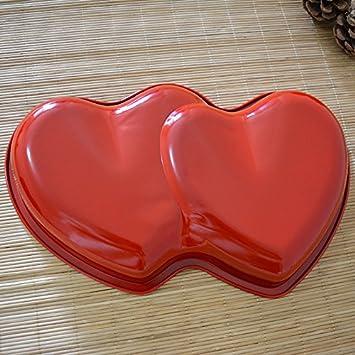 Amazon De Doppel Schalen In Herzform Farbe Backform Antihaft Kuchen