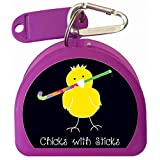 Mouth Guard, Retainer or Dental Case called Chick with Field Hockey Stick