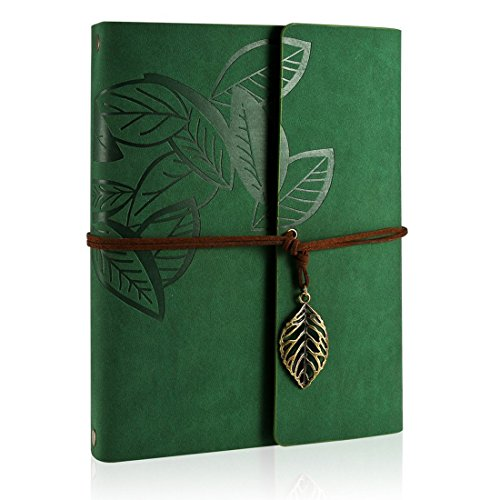 ZEEYUAN Scrapbook, Memories Scrapbook Leaf Soft Leather Album Family Self-Adhesive Books Special Christmas Gifts Birthday Gifts Unique Gift for Women(Green) ()