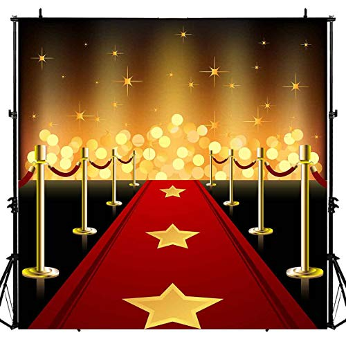 LUCKSTY Hollywood Red Carpet Backdrops for Photography 6x6FT Gold Lights Glitter Walk of Fame Photo Backgrounds for Baby Children Birthday Wedding Studio Props LUGE049