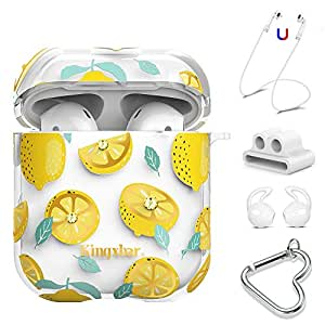 AirPods Case Cover 5 in 1 with Crystal from Swarovski for Apple AirPods 2 & 1, Clear Full Protective Hard Cute Cases for Girls Lemon Design with ...