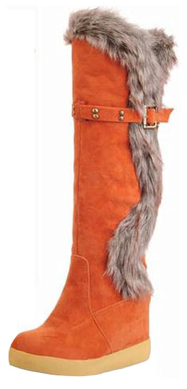 Summerwhisper Women's Casual Rivets Buckle Strap Faux Suede Fur Splicing Round Toe Heighten Inside Slip on Knee High Snow Boots