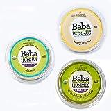 Baba Small Batch Organic Hummus (8 oz, 3 Pack) - USDA Organic, Gluten Free, Vegan, Non-GMO, Cholesterol Free (Classic, Zesty Lemon, Avocado/Cilantro)