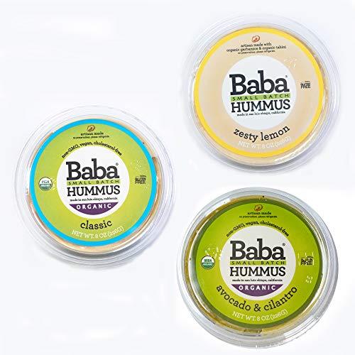 Baba Small Batch Organic Hummus (8 oz, 3 Pack) - USDA Organic, Gluten Free, Vegan, Non-GMO, Cholesterol Free (Classic, Zesty Lemon, - Batch Unit