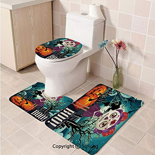 3pcs/Set Halloween Style Toilet Mat,Cartoon Girl with Sugar Skull Makeup Retro Seasonal Artwork Swirled Trees Boo Decorative,Plush Bathroom Decor Mat with Non Slip Backing -