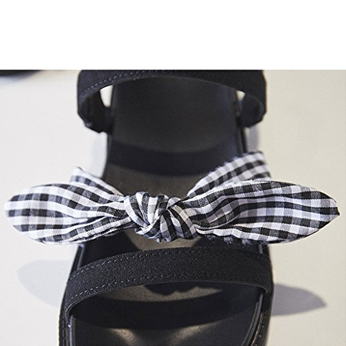Student Fairy Rome Summer Sandals Sandali shop Retro Nero Knot Style xiang Bottom Shi Bow Flat 7q14vWYn