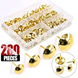 Hilitchi 280-PCS Golden 7/16'' 9/16'' 5/8'' 3/4'' Antique Upholstery Nails Tacks Furniture Tacks Upholstery Tacks Thumb Tack Push Pins Assortment Kit