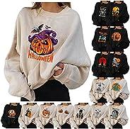 Tophoopp Halloween Sweatshirts for Women, Women's Pumpkin Sweater Long Sleeve Pullover Tops Lightweight Sw
