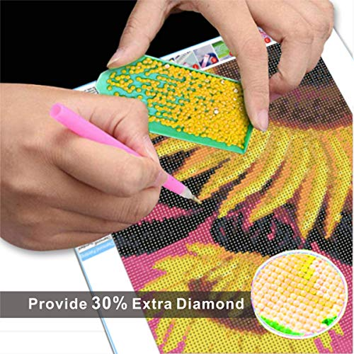 DIY 5D Diamond Painting,Diamond Art Kits for Adults and Kids,Sunflower Diamond Paintings Full Drill Round Gem Art Craft Perfet for Gift and Home Wall Decor,Easy for Beginners 12x16inch