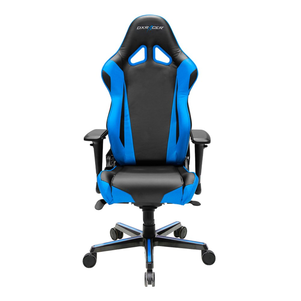 DXRacer Racing Series DOH/RV001/NB Newedge Edition Racing Bucket Seat Office Chair Gaming Chair PVC Ergonomic Computer Chair eSports Desk Chair Executive Chair With Pillows(Black/Blue)