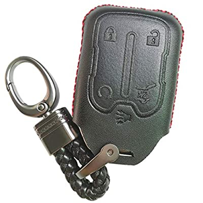 Alegender 5 Buttons Leather Key Fob Cover Case Remote Jacket Protector Glove for GMC Acadia Terrain Yukon Chevrolet Chevy Suburban Tahoe HYQ1AA 13584502 1551A-AA Black: Automotive