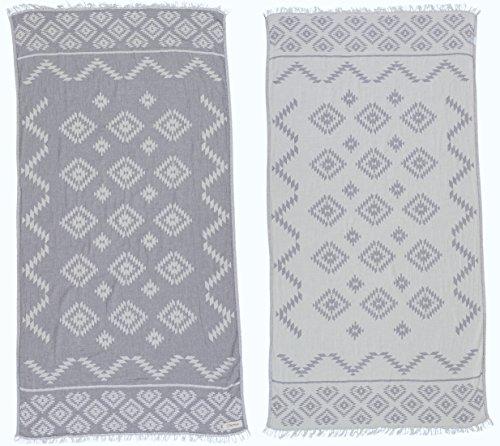Bersuse 100% Cotton - Teotihuacan Turkish Towel - Peshtemal Bath Beach Towel - Aztec Design - Dual-Layer, Oeko-TEX - 37 x 70 Inches, Silver Grey (Set of 6)