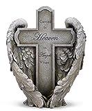 "Angel Wings Heaven Cross Memorial 11"" Resin Stone Garden Statue Figurine"