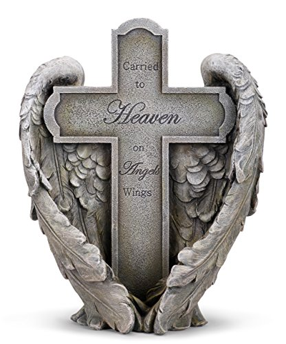Angel Wings Heaven Cross Memorial 11″ Resin Stone Garden Statue Figurine