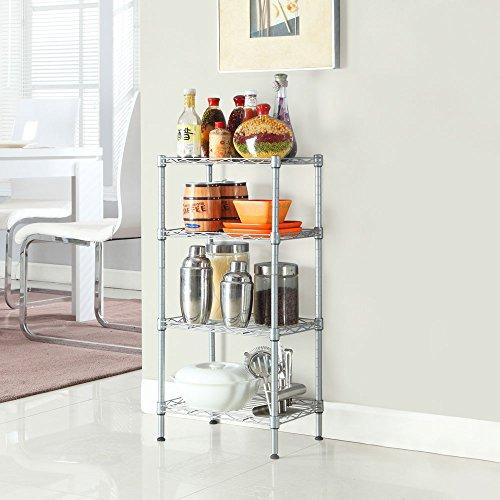 4 Tier Corner Rack, Rectangle Steel Wire Corner Shelving Unit Storage Organizer Display Shelf for Kitchen Bathroom Balcony Living Room, Silver ()