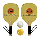 Driveway Games Pickleball Paddle Set. 2 Outdoor Wood Rackets and 2 Pickleballs