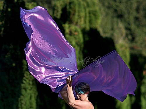 AMETHYST Shimmer Angel Wing Catch the Fire Worship Flags (single layer pair) by Catch the Fire Worship Flags