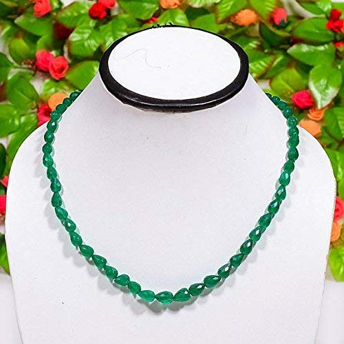 - Green Onyx Beads - Micro Faceted Tear Drop, Emerald Green Onyx - Faceted Gemstones Necklace, 17