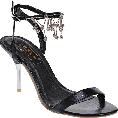 Ladies high heel strappy sandal with diamante for Prom, Bridal, occasional, Evening wear Black
