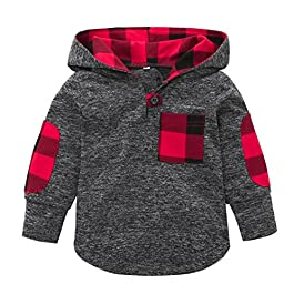 Boys Tops, SHOBDW Kid Girl Fashion Splicing Plaid Hoodie Pocket Spring Winter Warm Sweatshirt Pullover Toddler Baby…