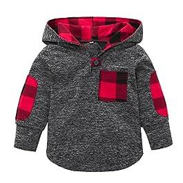 Boys Tops, SHOBDW Kid Girl Fashion Splicing Plaid Hoodie Pocket Spring Winter Warm Sweatshirt Pullover Toddler Baby Clothes