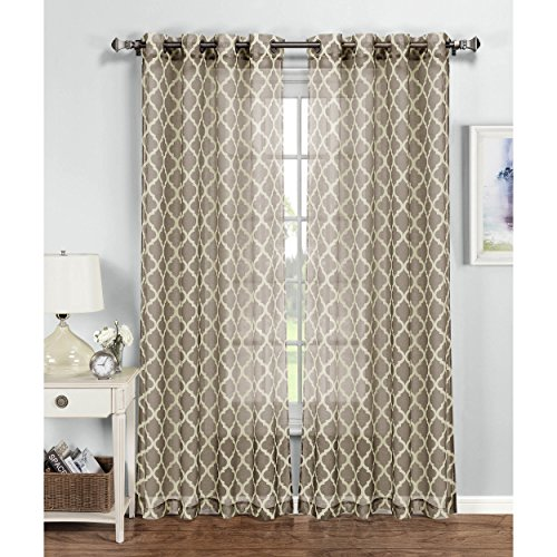 Window Elements Quatrefoil Printed Sheer Extra Wide 54 x 96 in. Grommet Curtain Panel, Light Brown/Ivory