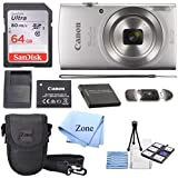 Canon PowerShot ELPH 180 Digital Camera w/Image Stabilization and Smart AUTO Mode (Silver) +64GB SD Card +case + Extra Battery Bundle kit