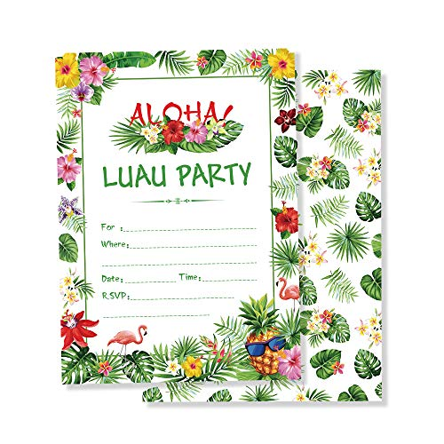 LJCL Hawaiian Luau Aloha Party Supplies,25 Set Summer Flamingo Party Invites with Envelopes,Summer Tropical Beach Pool Theme,Green Palm Leaves with Gold Foil Hawaiian Flower Lei Designs