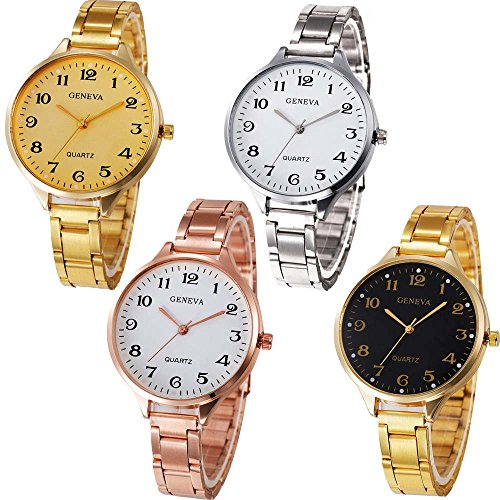 Yunanwa 4-Pack Women's Men's Unisex Watches Roman Numeral Gold Plated Metal Nylon Link Watch (4PCS-H705)