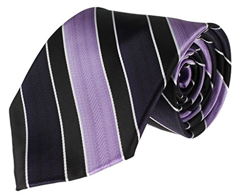 Diagonal Stripe Woven Tie - Mens Necktie Purple and Navy Blue Diagonal Stripe Standard Tie