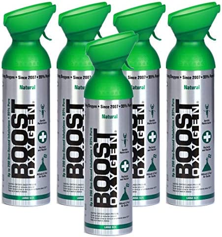 Boost Oxygen Supplemental Oxygen to Go   All-Natural Respiratory Support for Health, Wellness, Performance, Recovery and Altitude (10 Liter Canister, 5 Pack, Natural)