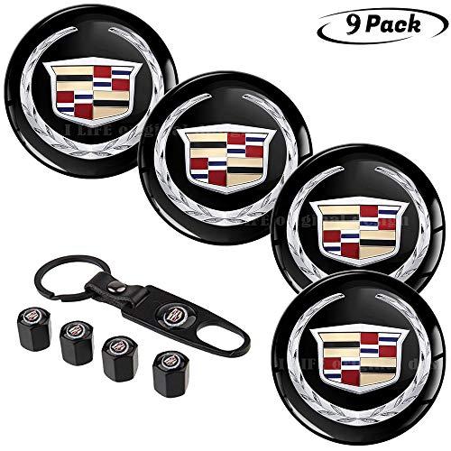9pcs,65mm Cadillac Emblem Badge Sticker Wheel Hub Caps Centre Cover +Tire Valve Stem Caps Cover for Cadillac+Cadillac Keychain