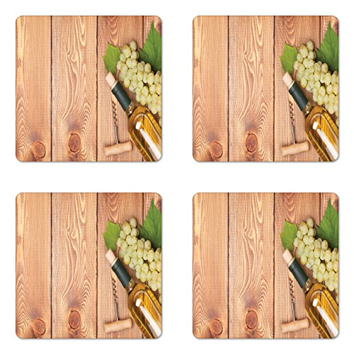 (Ambesonne Winery Coaster Set of 4, Wine Bottle and Bunch of Grapes on Wooden Table Background Romantic Italian Dinner, Square Hardboard Gloss Coasters for Drinks, Green Brown )
