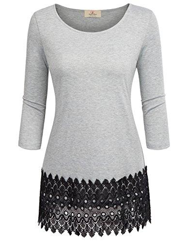 GRACE KARIN Loose Tunic Blouse For Leggings For Women Casual Work T-Shirt Tops Grey L (Evening Shirt Womens)