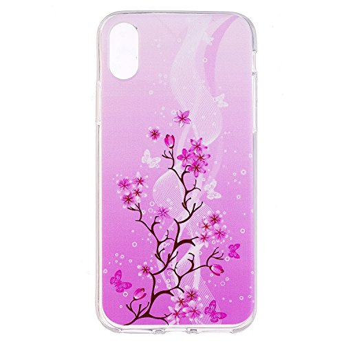 iphone 8 Custodia , Leiai Moda Farfalla Albero Silicone Morbido TPU Cover Case Custodia per Apple iphone 8