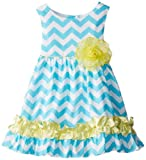 Rare Editions Little Girls' Chevron Print Woven Dress, Turquoise/White/Yellow, 4