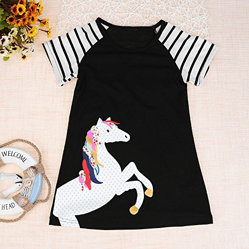 Yamally Girls Cotton Short Sleeves Casual Cartoon Summer Butterfly Printed Dresses Summer by Yamally_9R_Baby Skirts (Image #1)