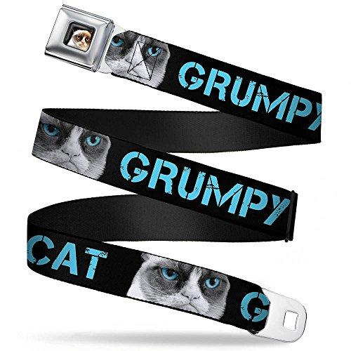 Buckle-Down Seatbelt Belt - GRUMPY CAT w/Face C/U Black/Turquoise - 1.5