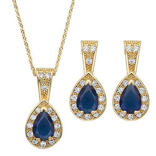 Lux Gold Tone Simulated Blue Sapphire and Cubic Zirconia Halo Earrings and Pendant Necklace Set 15