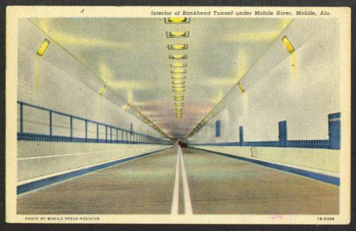 In Bankhead Tunnel Mobile River AL postcard 1958 (Tunnel Bankhead Mobile)
