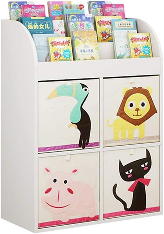 本の陳列台 子供の本棚キッズブックストレージボックスやおもちゃオーガナイザー棚ラック 大量の文庫本を保管できます (色 : 白, サイズ : 105x73x34.5cm)