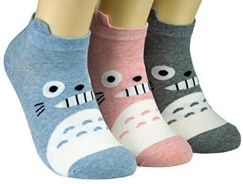 Dasom Lovely Cute Women Boy Love Character Cartoon Socks (Totoro 3 Set) (Cute Girl Cartoon Characters)